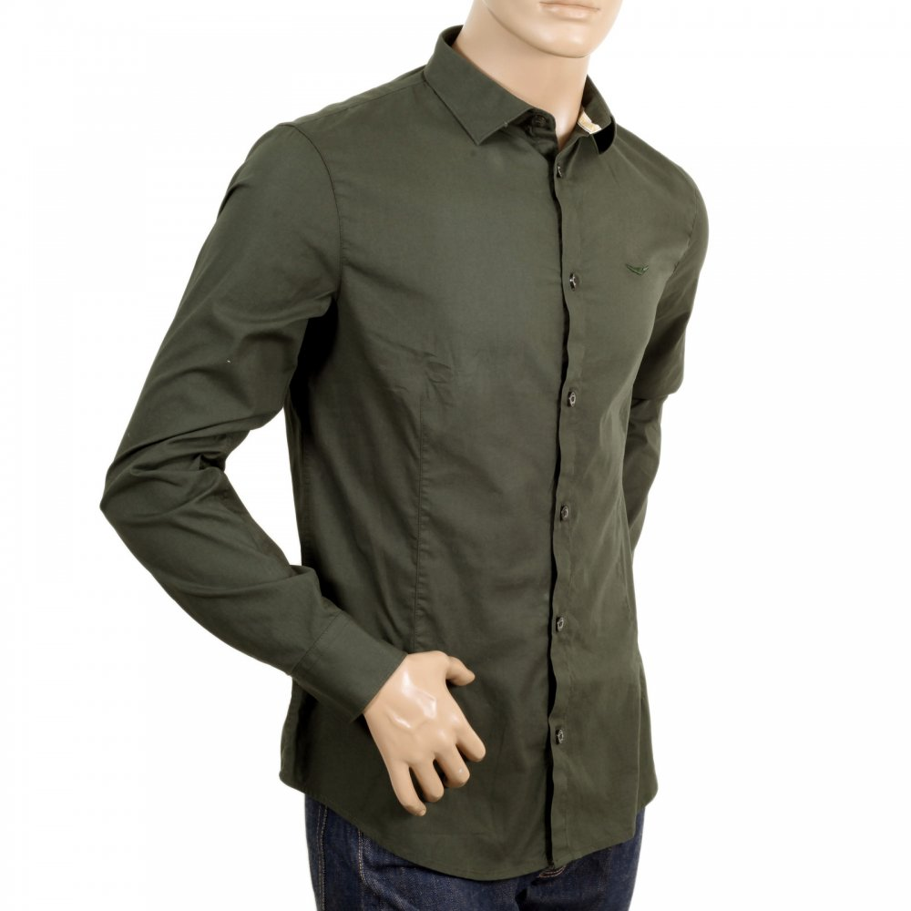 Buy cotton made long sleeve armani jeans shirt in green for Slim fit cotton shirts