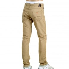 Mens Low Waist Tight Leg J06 Slim Fit Jeans in Beige with Brass Coloured Embossed Waistband Button and Rivets