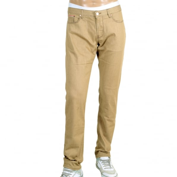 ARMANI JEANS Mens Low Waist Tight Leg J06 Slim Fit Jeans in Beige with Brass Coloured Embossed Waistband Button and Rivets
