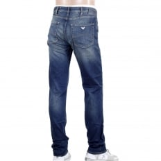 Mens Regular Fit Comfort Fabric J45 Denim Jeans with Heavy Fading on the Front and Back