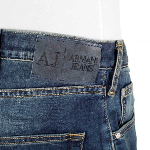 ARMANI JEANS Mens Regular Fit Comfort Fabric J45 Denim Jeans with Heavy Fading on the Front and Back