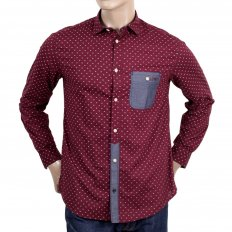 Mens Regular Fit Denim Blue Long Sleeve Shirt in Bordeaux