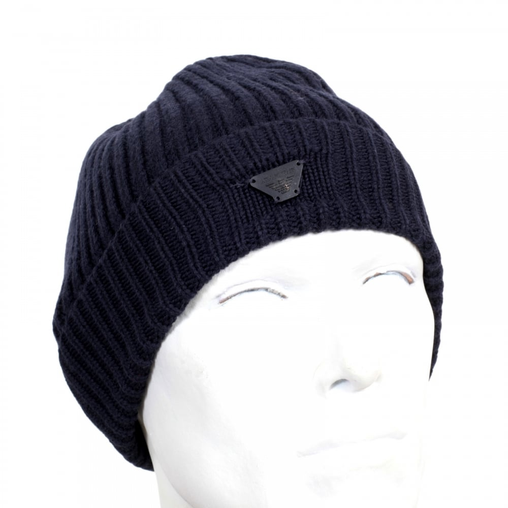 57cabbbd742 ... ARMANI JEANS Mens Ribbed Knit Navy 934029 6A757 100% Wool Beanie Hat  with Signature AJ ...