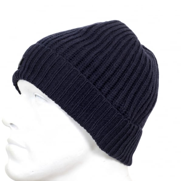 61afe4af0 ARMANI JEANS Mens Ribbed Knit Navy 934029 6A757 100% Wool Beanie Hat with  Signature AJ Eagle Logo Applique Badge