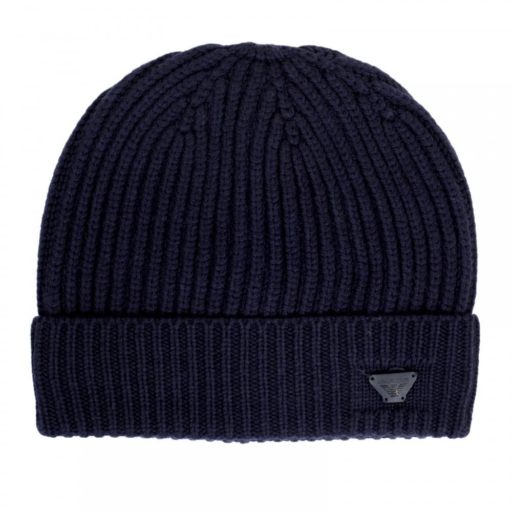 10bfe887722 ARMANI JEANS Mens Ribbed Knit Navy 934029 6A757 100% Wool Beanie Hat with  Signature AJ Eagle Logo Applique Badge