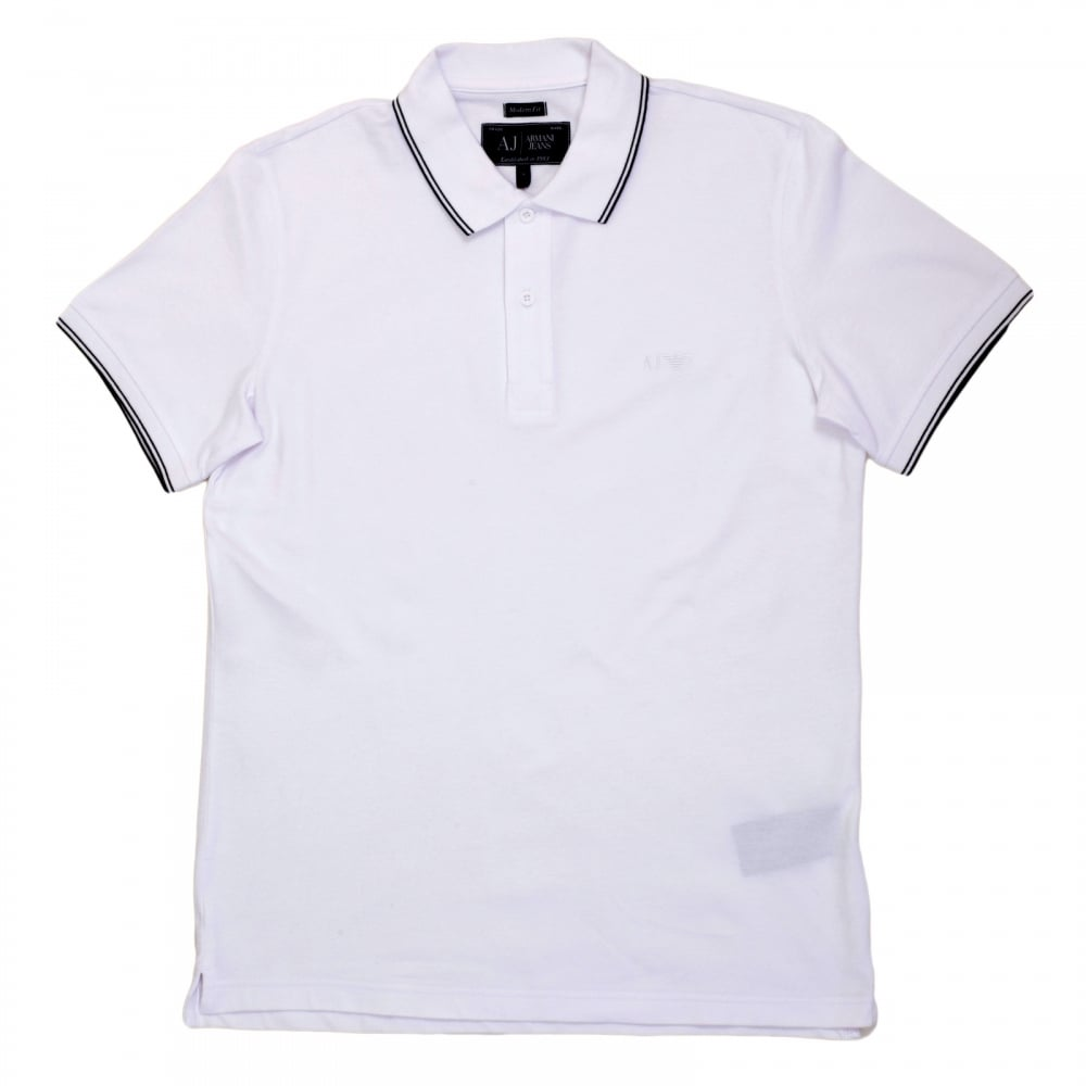 ... ARMANI JEANS Mens Short Sleeved Modern Fit Logo Embroidered White Polo  Shirt with Ribbed Collar and