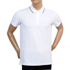 Mens Short Sleeved Modern Fit Logo Embroidered White Polo Shirt with Ribbed Collar and Sleeve Cuffs