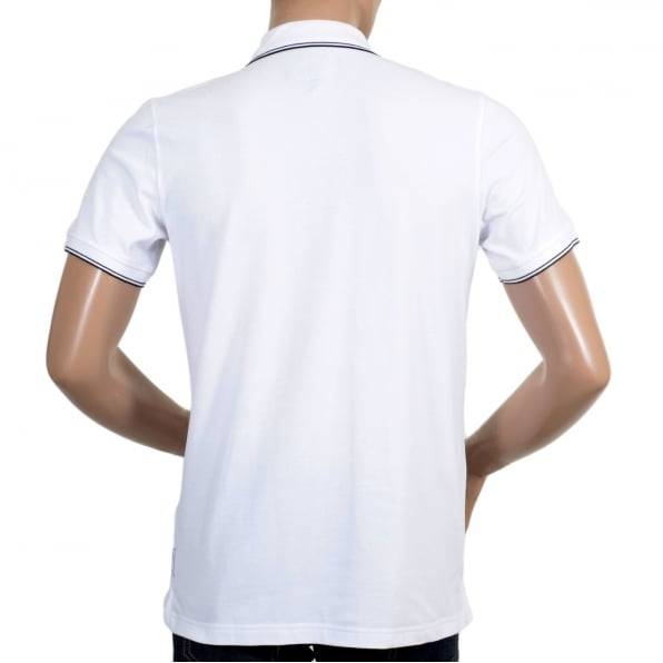 ARMANI JEANS Mens Short Sleeved Modern Fit Logo Embroidered White Polo Shirt with Ribbed Collar and Sleeve Cuffs