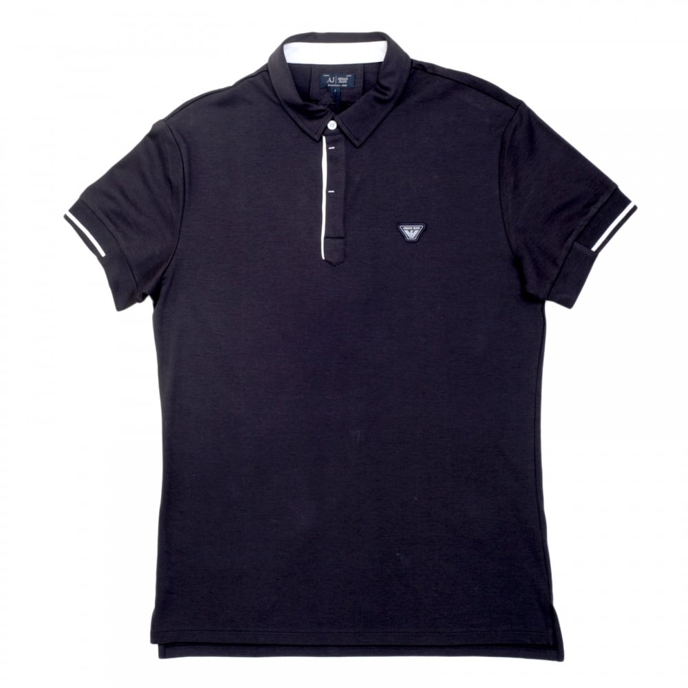 Mens slim fit polo shirt in dark blue from armani jeans for Short sleeved shirts for men