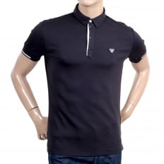 Mens Slimmer Fit Blue Short Sleeve Polo Shirt for Men with Applique Chest Logo, Ribbed Collar and Sleeve Cuffs