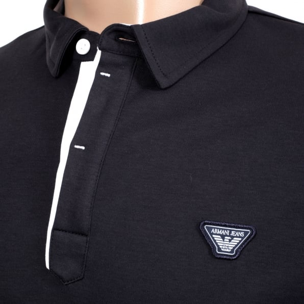 ARMANI JEANS Mens Slimmer Fit Blue Short Sleeve Polo Shirt for Men with Applique Chest Logo, Ribbed Collar and Sleeve Cuffs