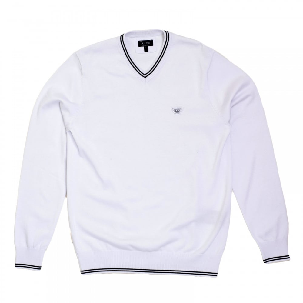 4546fc2560aa ARMANI JEANS Mens V Neck White Cotton Knitted Jumper Styled with Black Trim  on Ribbed Collar ...