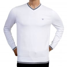 Mens V Neck White Cotton Knitted Jumper Styled with Black Trim on Ribbed Collar, Waistband and Sleeve Cuffs