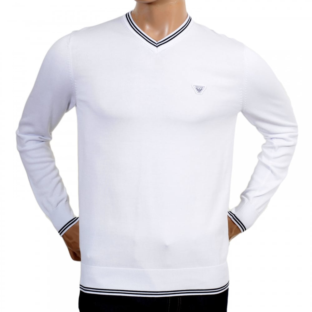 f734fc235147 ARMANI JEANS Mens V Neck White Cotton Knitted Jumper Styled with Black Trim  on Ribbed Collar