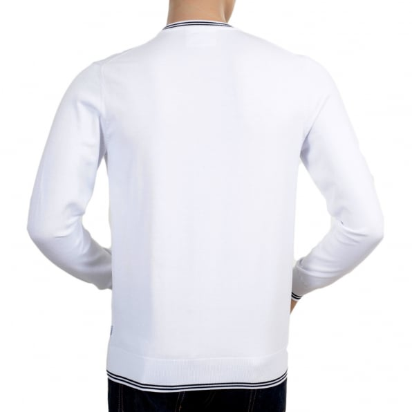 ARMANI JEANS Mens V Neck White Cotton Knitted Jumper Styled with Black Trim on Ribbed Collar, Waistband and Sleeve Cuffs