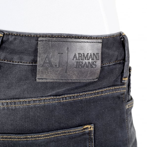 ARMANI JEANS Mens Washed Black Slim Fit Low Waist J06 Tight Leg Zip Fly Denim Jeans