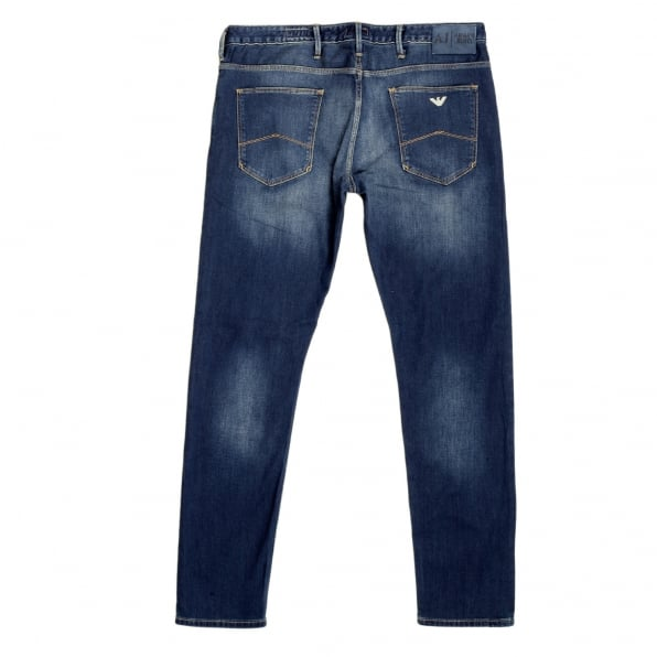 ARMANI JEANS Mens Washed J06 Slim Fit Low Waist Tight Leg Blue Denim Jeans with Fading on Front and Back