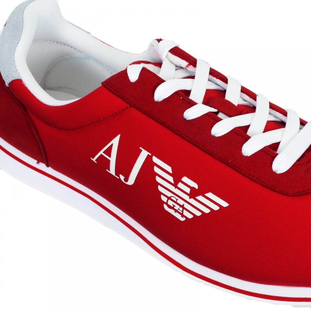 6101acdcea38 ... ARMANI JEANS Red Canvas 06533 31 Low Top Runner Style Trainers for Men  ...