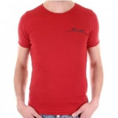 Red crew neck slim fit short sleeve t-shirt