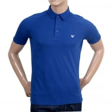 Regular Fit Applique Chest Logo Styled Cotton Blue Polo Shirt for Men with Raglan Sleeves and 3 Button Placket