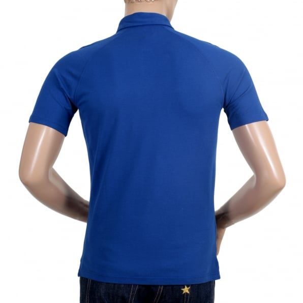 ARMANI JEANS Regular Fit Applique Chest Logo Styled Cotton Blue Polo Shirt for Men with Raglan Sleeves and 3 Button Placket