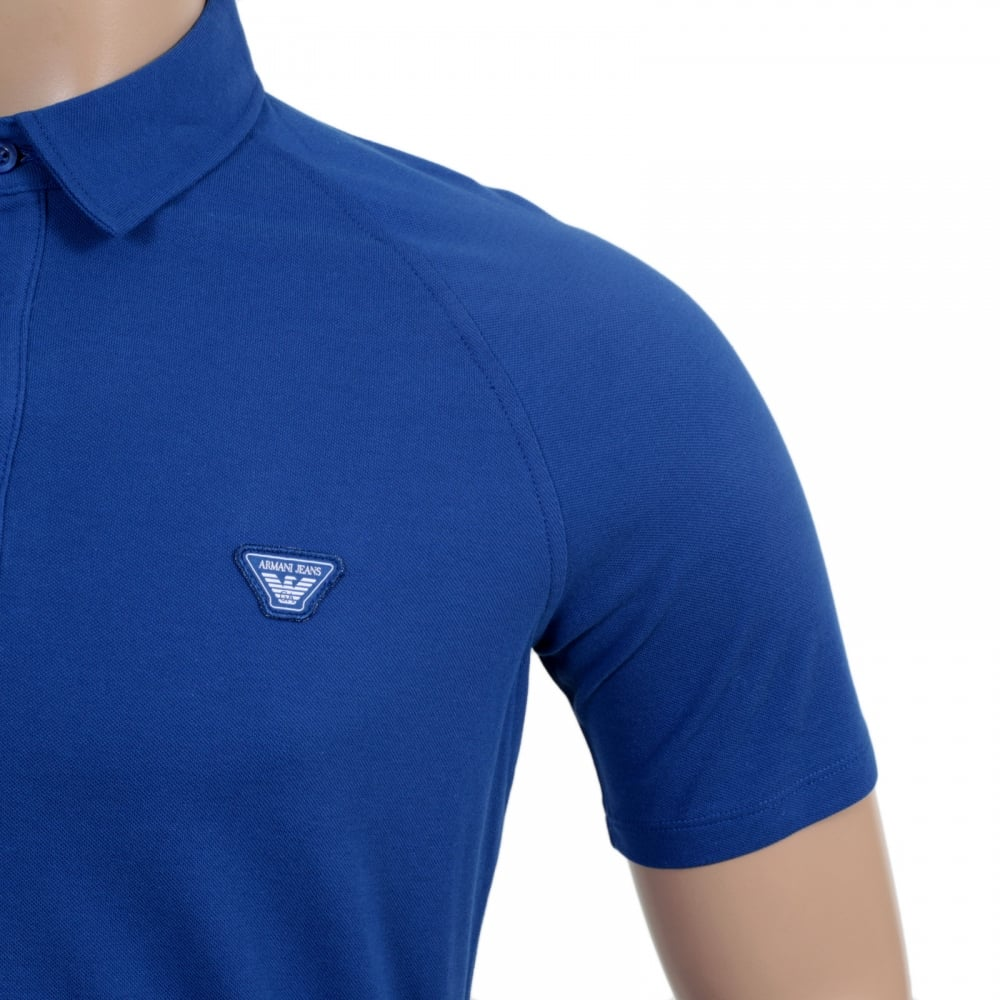 Blue polo shirt with raglan sleeves from armani jeans for Polo shirt and jeans