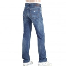 Regular Fit J21 Stretch Fabric Denim Jeans with Silver Embossed Buttons and Fading for a Worn Finish