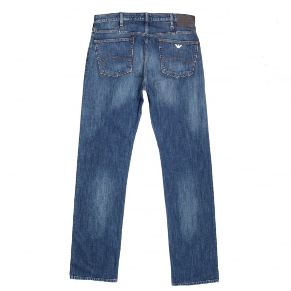 ARMANI JEANS Regular Fit J21 Stretch Fabric Denim Jeans with Silver Embossed Buttons and Fading for a Worn Finish