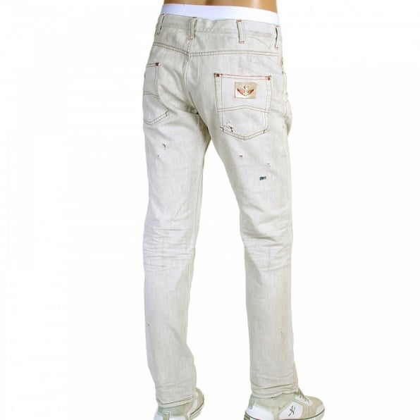 ARMANI JEANS Regular Fit Low Waist Washed Natural Vintage Worn Finish Denim Jeans