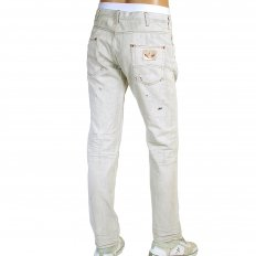 Regular Fit Low Waist Washed Natural Vintage Worn Finish Denim Jeans