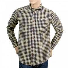 Regular Fit Navy and Khaki Textured Check Long Sleeve Shirt for Men