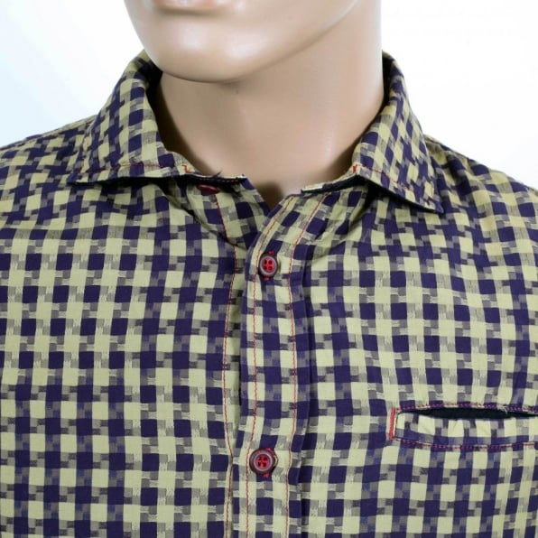 ARMANI JEANS Regular Fit Navy and Khaki Textured Check Long Sleeve Shirt for Men
