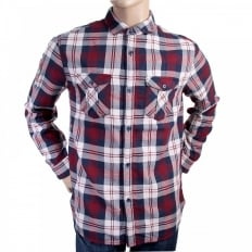 Regular Fit Red and Navy Quadri Check Grandad Shirt