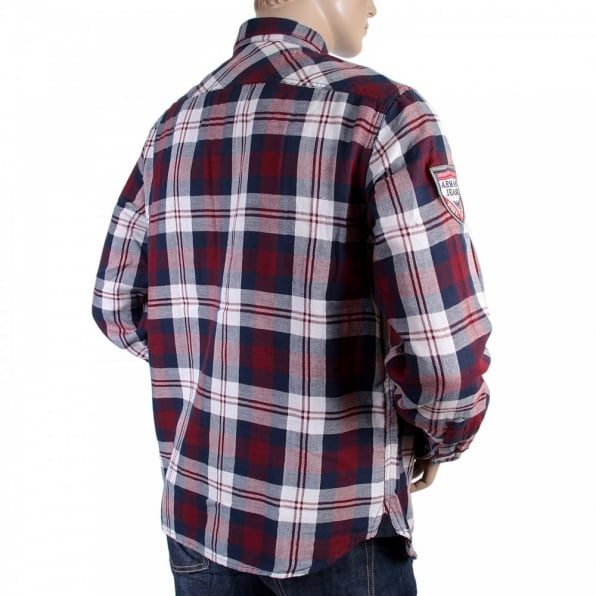 ARMANI JEANS Regular Fit Red and Navy Quadri Check Grandad Shirt
