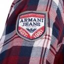 ARMANI JEANS Regular Fit Red and Navy Quadri Check Grandad Shirt
