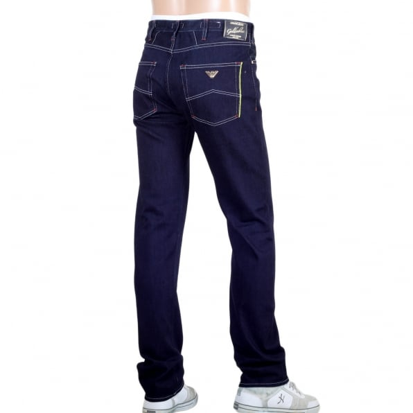 ARMANI JEANS Rich Dark Indigo Luxury Edition Goldenblue J45 Made in Italy Jeans for Men with Coloured Selvedge Trim Pocket
