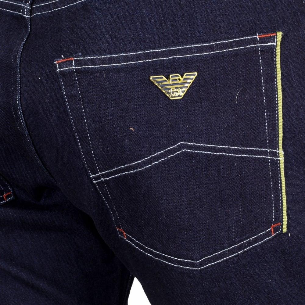 612140d8 Gold Selvedge Trim Pocket Jeans for Men by Armani Jeans
