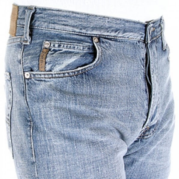 ARMANI JEANS Sandblast Relaxed Fit Straight Leg Regular Waist Denim Jeans