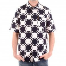Short Sleeve Slim Fit White Shirt with Navy Circles
