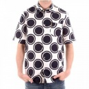 ARMANI JEANS Short Sleeve Slim Fit White Shirt with Navy Circles