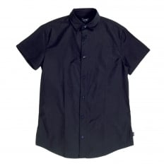 Short Sleeve Woven Cotton Navy Blue Shirt with Self Coloured Mini Dot Jacquard Pattern by Armani AJM5985