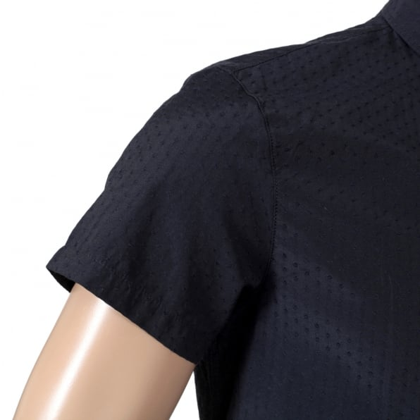 ARMANI JEANS Short Sleeve Woven Cotton Navy Blue Shirt with Self Coloured Mini Dot Jacquard Pattern by Armani AJM5985