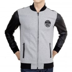 Slim Fit Grey College Sweat Jacket with Zipped Front, 2 Zipped Pockets, Darker Grey Back and Pleather Sleeves