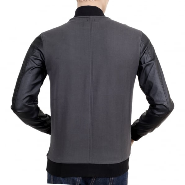 ARMANI JEANS Slim Fit Grey College Sweat Jacket with Zipped Front, 2 Zipped Pockets, Darker Grey Back and Pleather Sleeves