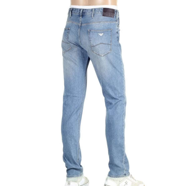 ARMANI JEANS Slim fit J06 Stonewash Stretch Denim Jeans with Low Waist Tight Leg