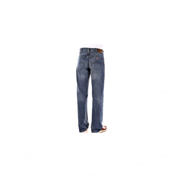 ARMANI JEANS Stonewash Blue Cast Relaxed Fit Straight Leg Regular Waist Jeans