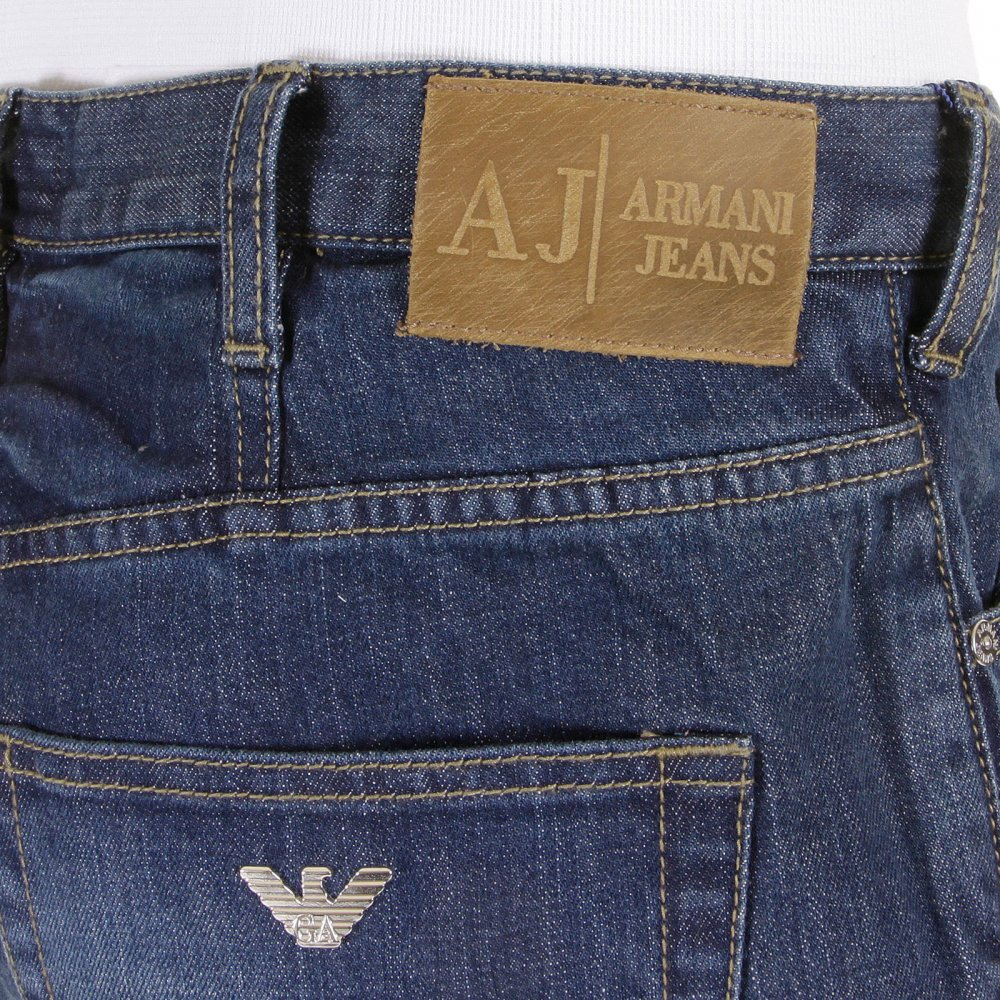 Buy Stonewashed Regular Fit Blue Jeans by Armani Jeans at ...