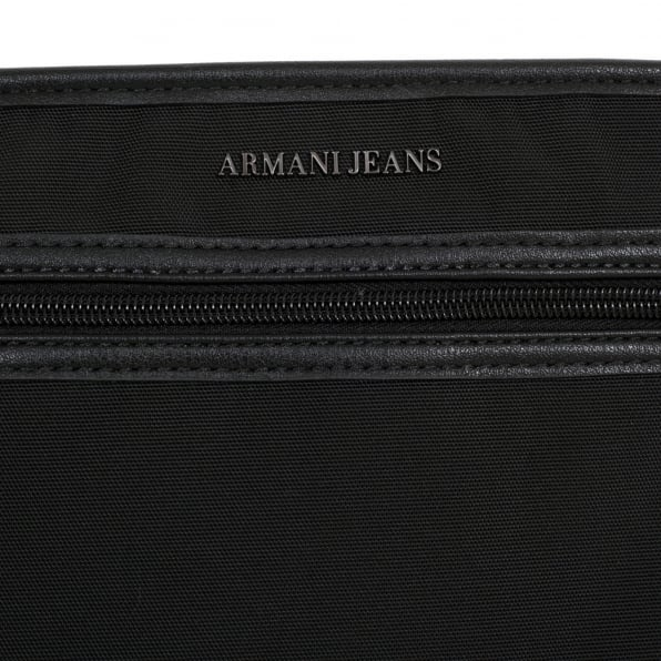ARMANI JEANS Text Logo Black Bag for Men with Top Zip Closure and Front Pocket