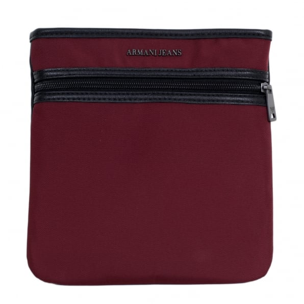 ARMANI JEANS Text Logo Bordeaux and Black Bag for Men with Top Zip Closure and Front Pocket