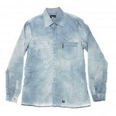 Washed Blue Pinstriped Regular Fit Long Sleeve Vintage Finish Shirt